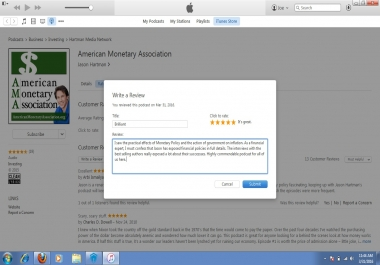 6 reviews and ratings on your podcast on iTunes