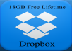 upgrade a Dropbox account to 18 Gigabytes free lifetime storage