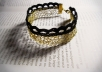 make a Crochet Gold Plated Bracelet with black lace