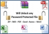 unlock any Password Protected File ZIP, RAR, PDF, Excel, Word, Access